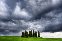 Storm over the tuscan countryside. The tuscan countryside out of San Quirico and a storm approcing Royalty Free Stock Images