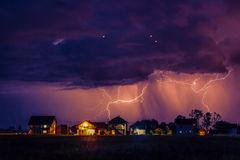 Storm over the village Royalty Free Stock Photography