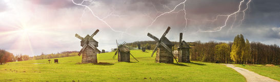 The storm over windmills Royalty Free Stock Images