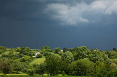 Storm overcast over desolate village Royalty Free Stock Photography