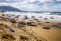 Storm på stranden Royaltyfria Foton