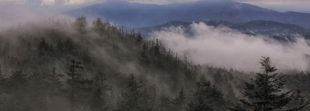 Storm passing across the ridge leading to the Island in the Sky Clingman's Dome Tower Royalty Free Stock Photography