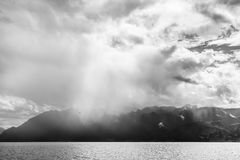 Storm passing over Lake Geneva in Switzerland Stock Photography