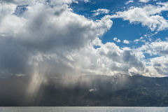 Storm passing over Lake Geneva in Switzerland Royalty Free Stock Image