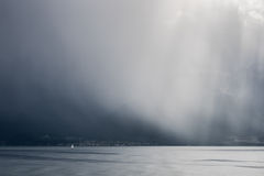 Storm passing over Lake Geneva in Switzerland Stock Image