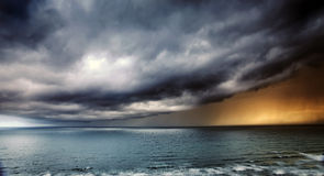 Storm Passing over Sea. Lightning and Thunderstorm Passing over Sea royalty free stock photography