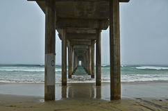 Storm Pier. A storm gathers at the Scripps Pier in La Jolla, San Diego, California Royalty Free Stock Photos