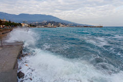 Storm on the promenade Yalta Stock Images