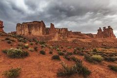 Storm, rain and flash flood in American desert Stock Photos