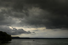 Storm and Rain over lake, France Stock Photos