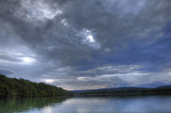 Storm and Rain over lake, France Stock Images