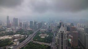 Storm rainy sky shanghai cityscape roof top panorama 4k time lapse china. China storm rainy sky shanghai cityscape roof top panorama 4k time lapse stock footage