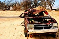 storm ravished car Stock Photo