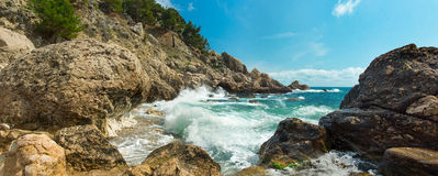 The storm on the rocky coast Stock Photo