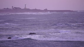 Storm Rolling in at Dawn California Pacific Ocean Coast Lighthouse stock video footage
