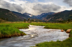 Storm rolling in on Moraine Park in Rocky Mountain National Park Royalty Free Stock Photography