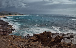 Storm Rolling in Over Hanauma Bay, Oahu Royalty Free Stock Photos