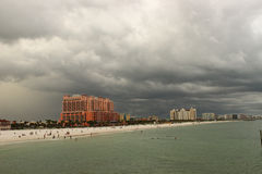 Storm Rolling In. A storm rolling in over hotels at Clearwater Beach, Florida royalty free stock photos