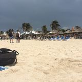 Storm rolling in. Progresso Beach, Mexico Royalty Free Stock Images