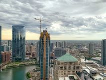 Free Storm Rolls In Over Chicagoland Looking West, With Wolf Point Construction In Foreground Stock Photography - 148016402