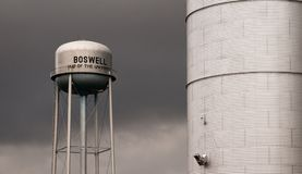 Silo and Watertower Storage Reservoir Agriculture Water Boswell Royalty Free Stock Photo