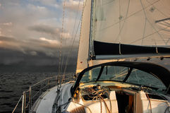 Before the storm. Sailing boat on the Baltic sea just before a storm arrives stock photography