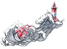 Storm. Sailing boat moves through the waves to the lighthouse vector illustration