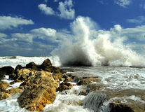 Storm on Sea. After a Strong storm the waves comes all day and hit the rocks from shore Royalty Free Stock Image