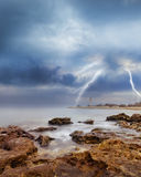 Storm on sea. Sea in Crimea Royalty Free Stock Photo
