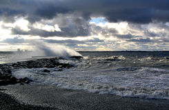 Storm on the sea in Tallinn, Estonia Stock Photography