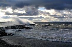 Storm on the sea in Tallinn, Estonia Stock Photography