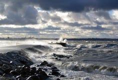 Storm at sea in Tallinn, Estonia royalty free stock images