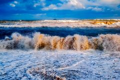 Storm at sea. With cloudy sky, close view Royalty Free Stock Photo