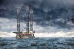 Storm at sea. Oil Rig at sea during a storm Stock Photos