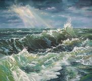 Seascape, large wave during the storm. Painting: canvas, oil. Author: Nikolay Sivenkov. Storm at sea is one of the most exciting and dangerous natural phenomena stock illustration