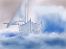 Storm sea. Painted background sea storm and boat Stock Image