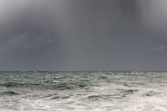Storm on the sea. With rain downpour Stock Image