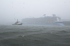 Storm on the sea with rain downpour. A storm on the sea with rain downpour Stock Images