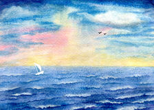 Storm at sea. Seascape, storm at sea, yacht on waves and birds on the horizon. Hand-painted watercolor illustration and paper texture Royalty Free Stock Photo