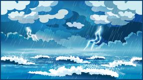 Storm at sea. Stylized vector illustration of an ocean during a storm Stock Photos