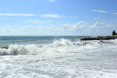 Storm on the sea in a summer sunny day Royalty Free Stock Photo