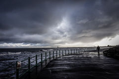 Storm at Seaburn. Stormy day down the beach in the uk royalty free stock image