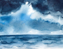 Storm seascape watercolor painted Royalty Free Stock Photography