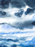 Storm seascape watercolor painted Royalty Free Stock Image