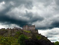 Storm Seige. Storm threatening Edinburgh Castle in Edinbugh, Scotland royalty free stock photos