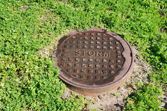 Storm sewer cover Stock Images