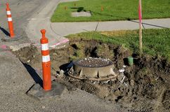Storm sewer drain and water sprinkler exposed in construction Royalty Free Stock Photography