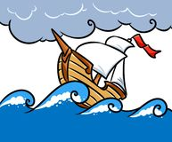 Storm ship sea cartoon illustration Stock Photos