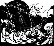 Storm Ship. Woodcut style image of a sailing ship in stormy seas Stock Image