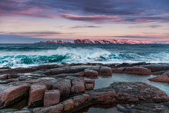 Storm on the shores of the Arctic Ocean at sunset Royalty Free Stock Photos